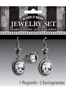 Jewelry Set - Black And Bone Earrings & Ring Set