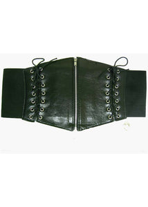 Belt - Corset Type Black Lace-Up with Zipper