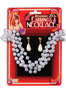 Jewelry Set - Clip-on Teardrop Earings & Pearl Necklace Set