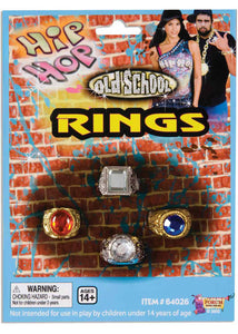 Ring - Bling Ring Set - Assorted Colours 4pk