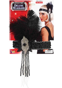 Flapper Headband with Sequins, Beads and Feathers-Deluxe