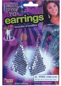 Earrings - Disco Drop Earrings - Silver