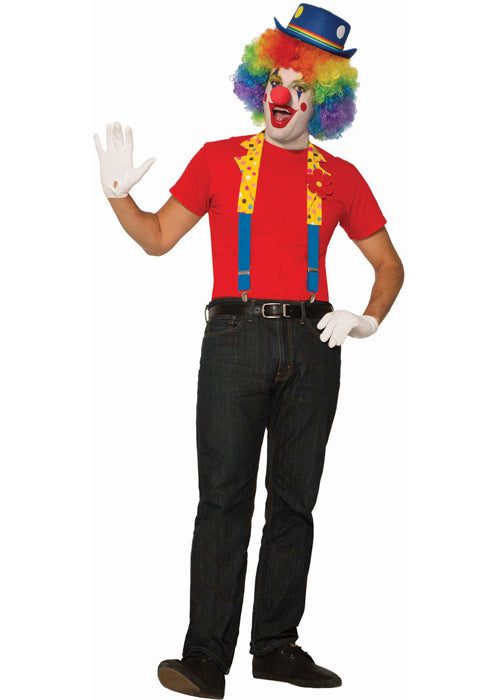 Clown Suspenders With Collar Mens Adult Circus Accessory Set