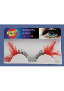 Eyelashes with Feathers - Black/Red -Deluxe