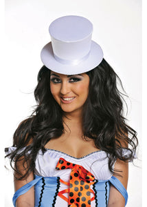 Burlesque Large Satin Top Hat-White