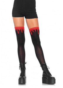 Knee Socks - Dripping Blood Woven Over The Knee Socks - Black/Red