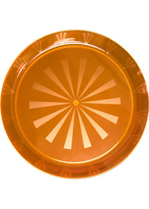 Tray - 16in Round Heavy Plastic Etched/Transperant Rectangle Tray - Neon Orange