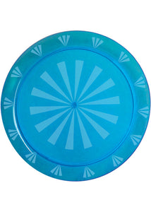 Tray - 16in Round Heavy Plastic Etched/Transperant Rectangle Tray - Neon Blue