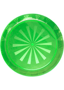 Tray - 16in Round Heavy Plastic Etched/Transperant Rectangle Tray - Neon Green