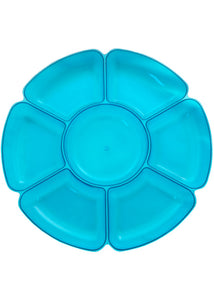Tray - 16in Round 7 Sectional Tray - Neon Blue