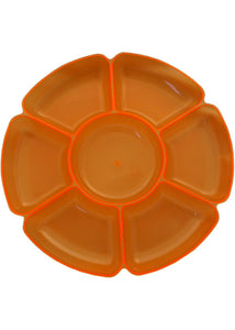 Tray - 16in Round 7 Sectional Tray - Neon Orange