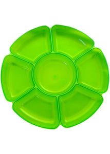 Tray - 16in Round 7 Sectional Tray - Neon Green