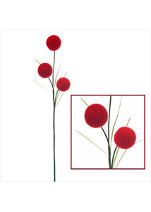 Red Stem - Decorative Stem with Styrofoam Red Balls - 36in