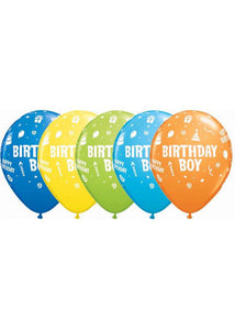 Birthday Boy Balloon Assorted Colours 11in Latex Balloon 50pk