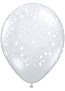 Stars A-Round Diamond Clear 11in Latex 50pk