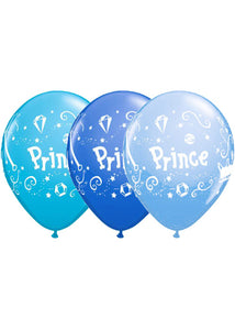 Prince Blue Colour Assortment 11in Latex Balloons 100pk