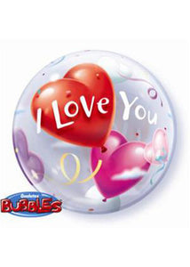 I Love You Hearts 22in Bubble Balloon