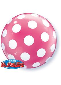 Poka Dot Clear with White Polka Dots 20in Bubble Balloon