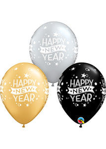 New Years Confetti Black, Silver, Gold Assortment 11in Latex Balloons 50pk