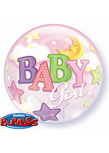 Baby Shower Girl - Baby Girl Moon & Stars 22in Bubble Balloon