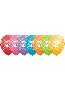 Number - 2 - Confetti Assorted Trendy Colours 11in Latex Balloons 50pk