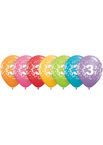 Number - 3 - Confetti Assorted Trendy Colours 11in Latex Balloons 50pk