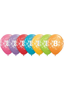 Number - 8 - Trendy Colours 11in Latex Balloons 50pk
