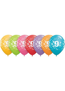 Number - 9 - Confetti Assorted Trendy Colours 11in Latex Balloons 50pk