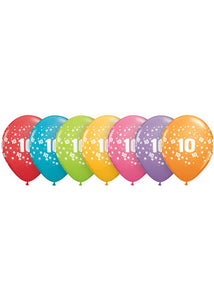 Number 10 - Confetti Assorted Tendy Colours 11in Latex Balloons 50pk