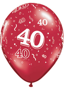 Number 40 - Ruby Red 11in Latex Balloons 50pk