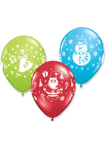 Christmas Characters Printed 11in Latex Balloon-Assorted Colours 100pk