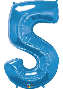 34in Blue (QU) Number 5 Foil Balloon