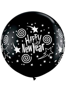 New Year's Swirling Stars Black 36in Latex Balloon 2pk