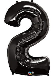 34in Black (QU) Number 2 Foil Balloon