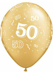 50th Anniversary Number 50 Around Gold/White 11in Latex Balloon 50pk