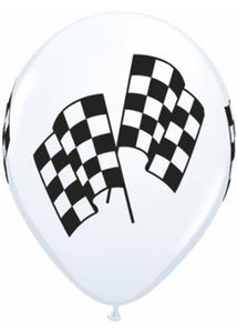 Racing - Checkered Flag White/Black 11in Latex Balloon 50pk