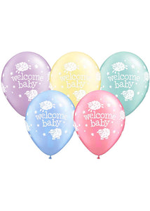 Baby Shower Neutral - Welcome Baby Lamb Assorted Pearlized Pastel Colours 11in Latex Balloon 50pk