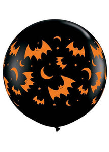 Bats - Flying Bats and Moon Onyx Black 36in Latex Balloons 2pk