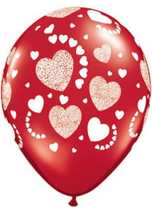 Heart - Etched Hearts Ruby Red 11in Latex Balloons 50pk