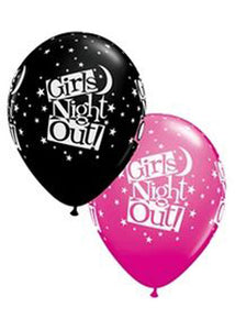 Bachelorette - Girls Night Out Stars Black & Wild Berry Printed All A Round 11in Latex Balloon 50pk