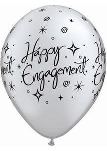 Engagement Elegant Sparkles Happy Engagement Pearl Onyx Black & Metallic Silver 11in Latex Balloons 50pk