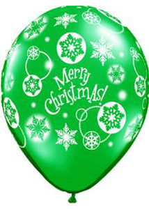 Christmas Snowflakes Emerald Green and Rubby Red Assortment 11in Latex Balloons 50pk