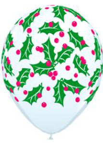 Holly & Berries White 11in Latex Balloons 50pk