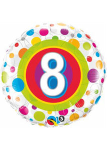 Number - 8 - Colourful Dots 18in Foil Balloon