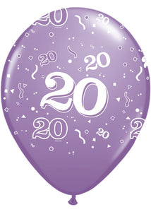 Number 20 - Around Assorted Trendy Colours 11in Latex Balloons 50pk
