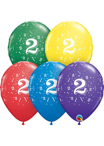 Number - 2 - Confetti Special Colour Assortment 11in Latex Balloon 50pk