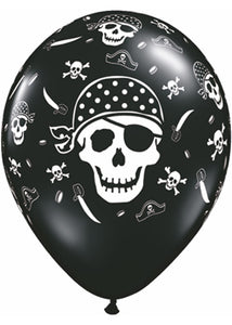 Pirate Skull Black With White 11in Latex Balloon 100pk