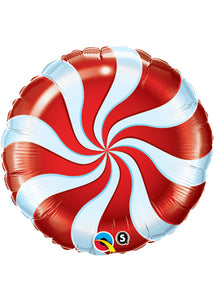 Candy Swirl Red 18in Foil Balloon