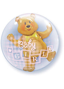 Baby Shower Girl - Baby Girl Blocks with Bear Insider Plastic Double Bubble 24in Balloon