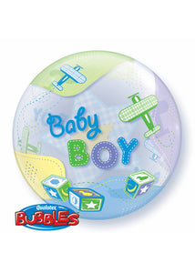Baby Shower Boy - Baby Boy Airplane 22in Bubble Balloon